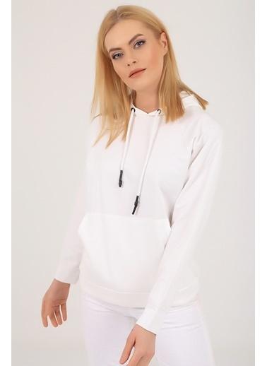 Emjey Kapüşonlu Kanguru Cepli Sweatshirt Beyaz